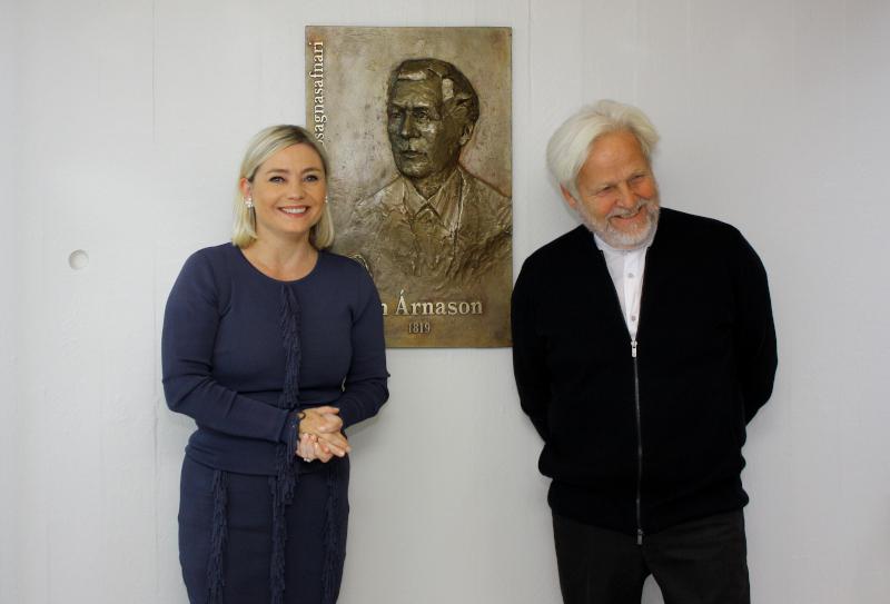 Memorial plaque in honor of Jón Árnason