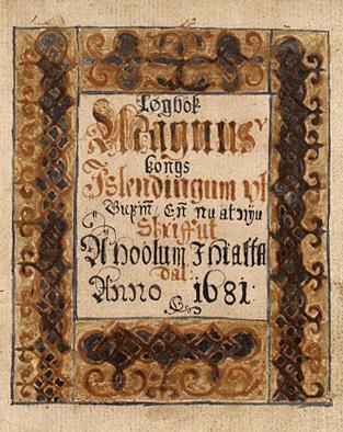 ÍBR 1 4to. Lögbók Magnúsar kóngs. Íslendingum útgefin enn nú að nýju. Skrifuð á Hólum í Hjaltadal anno 1681.